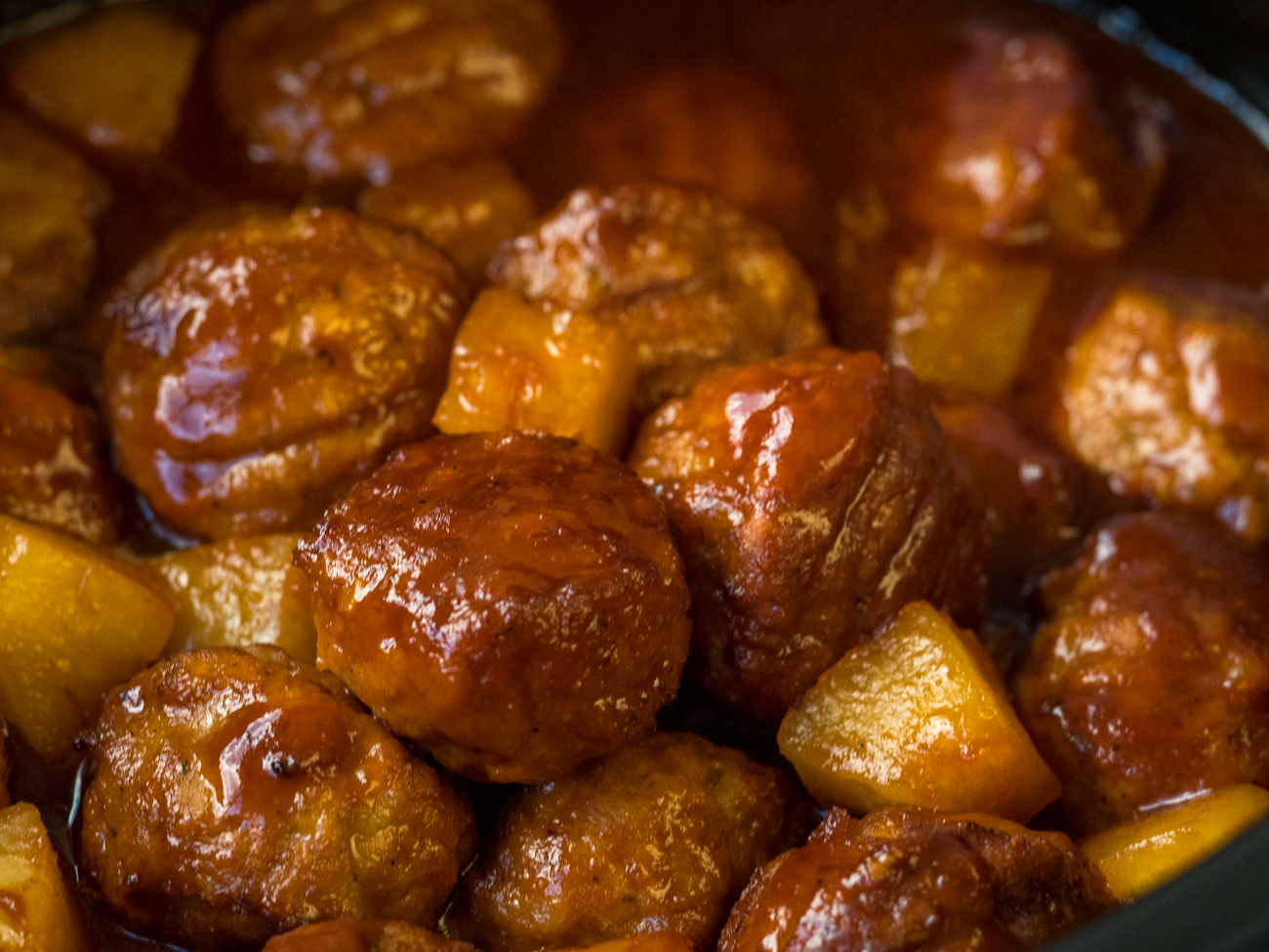 Slow Cooker Pineapple Barbecue Meatballs Horizontal 3