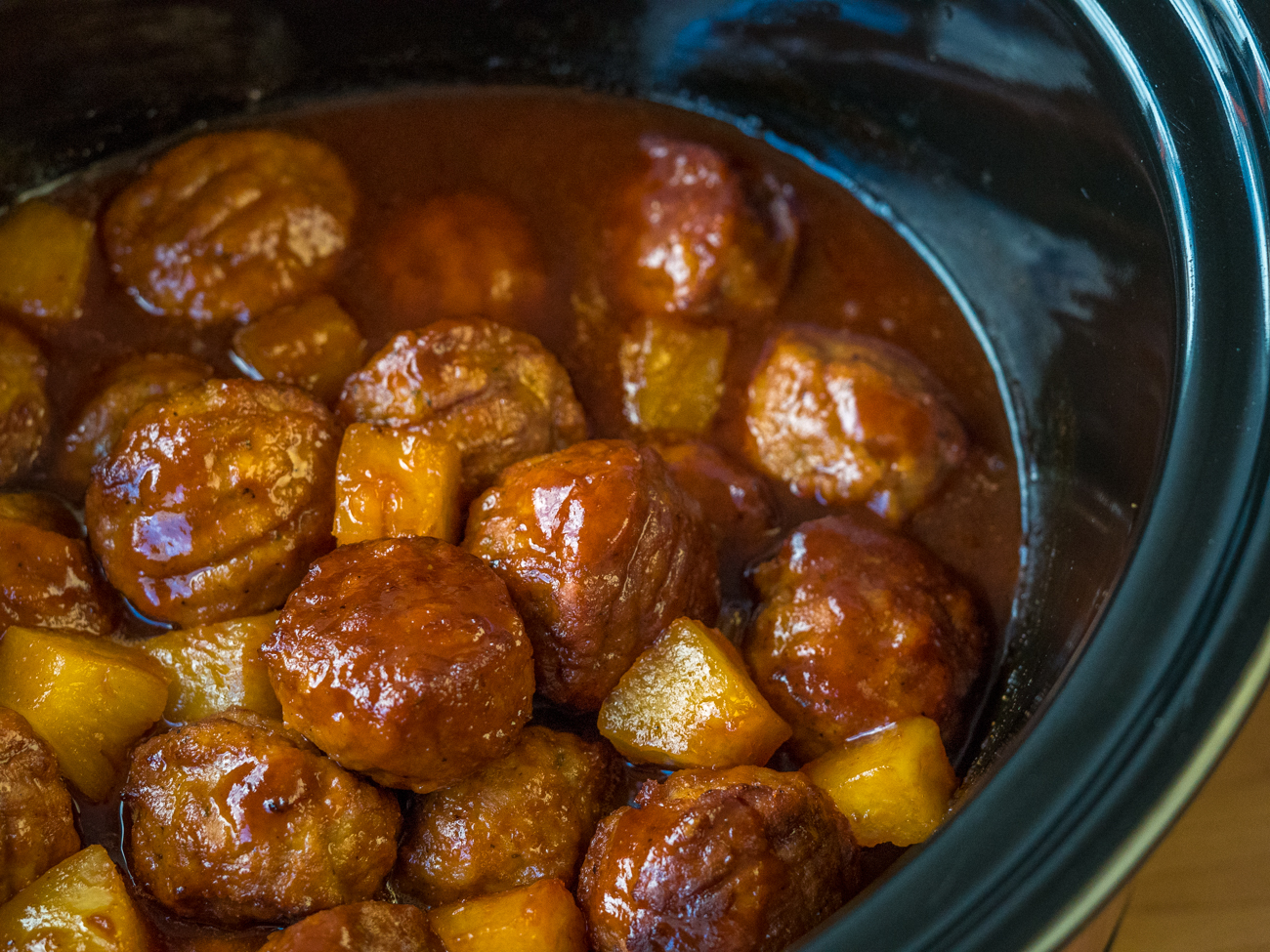 Slow Cooker Pineapple Barbecue Meatballs Horizontal 8