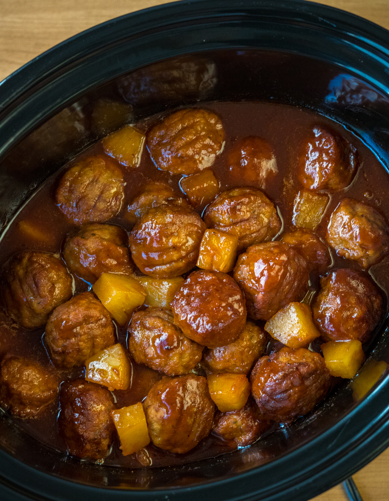 Slow Cooker Pineapple Barbecue Meatballs Vertical 3
