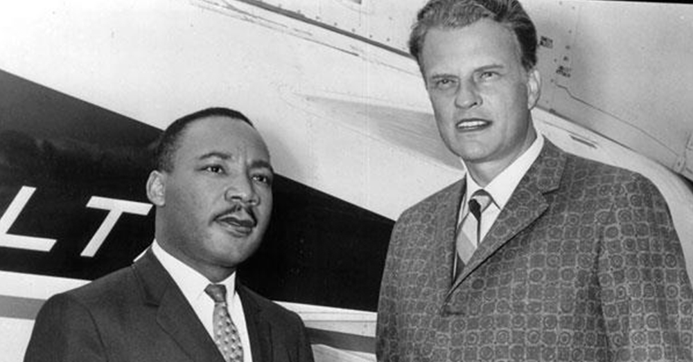 Facebook/Billy Graham -- Dr. Martin Luther King, Jr. and Rev. Billy Graham preached together during the Civil Rights Movement.