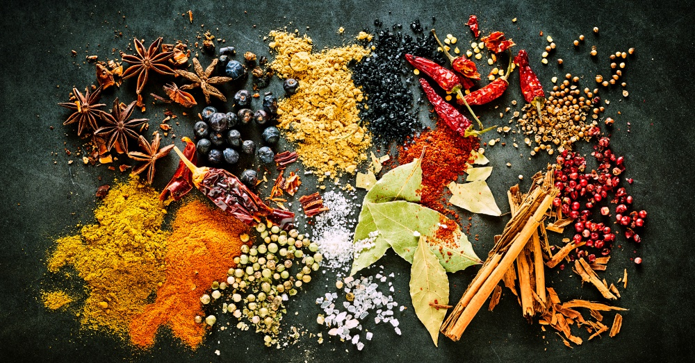 Colorful display of spices