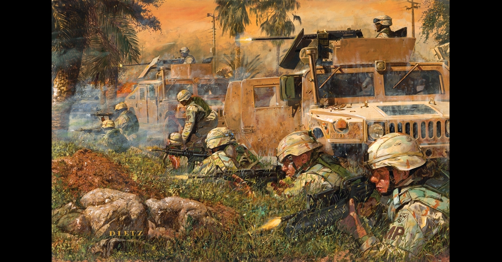 Painting by James Dietz depicting the day Sgt. Hester describesPhoto: National Guard