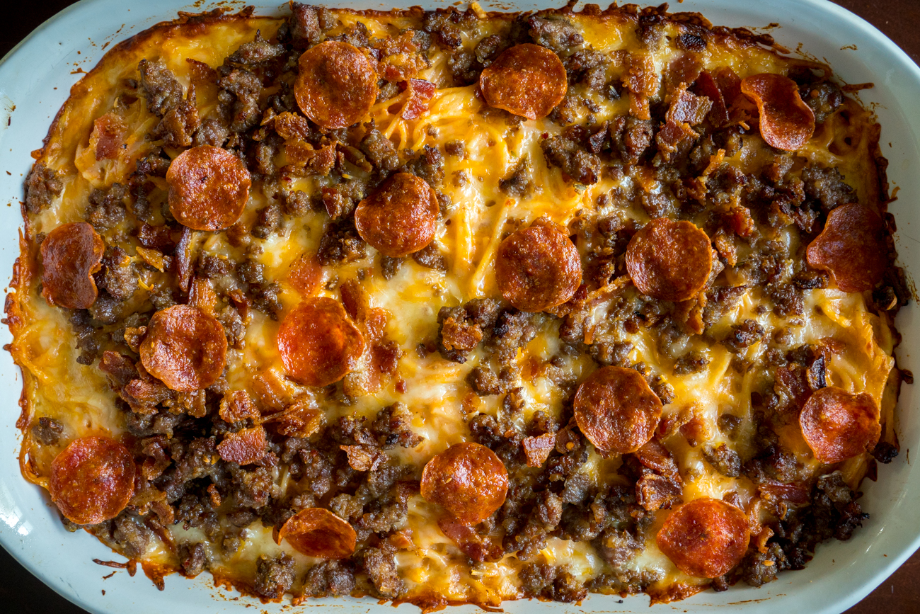 Meat Lover's Pizza Spaghetti Bake 1