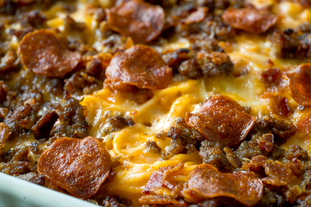 Meat Lover's Pizza Spaghetti Bake 3
