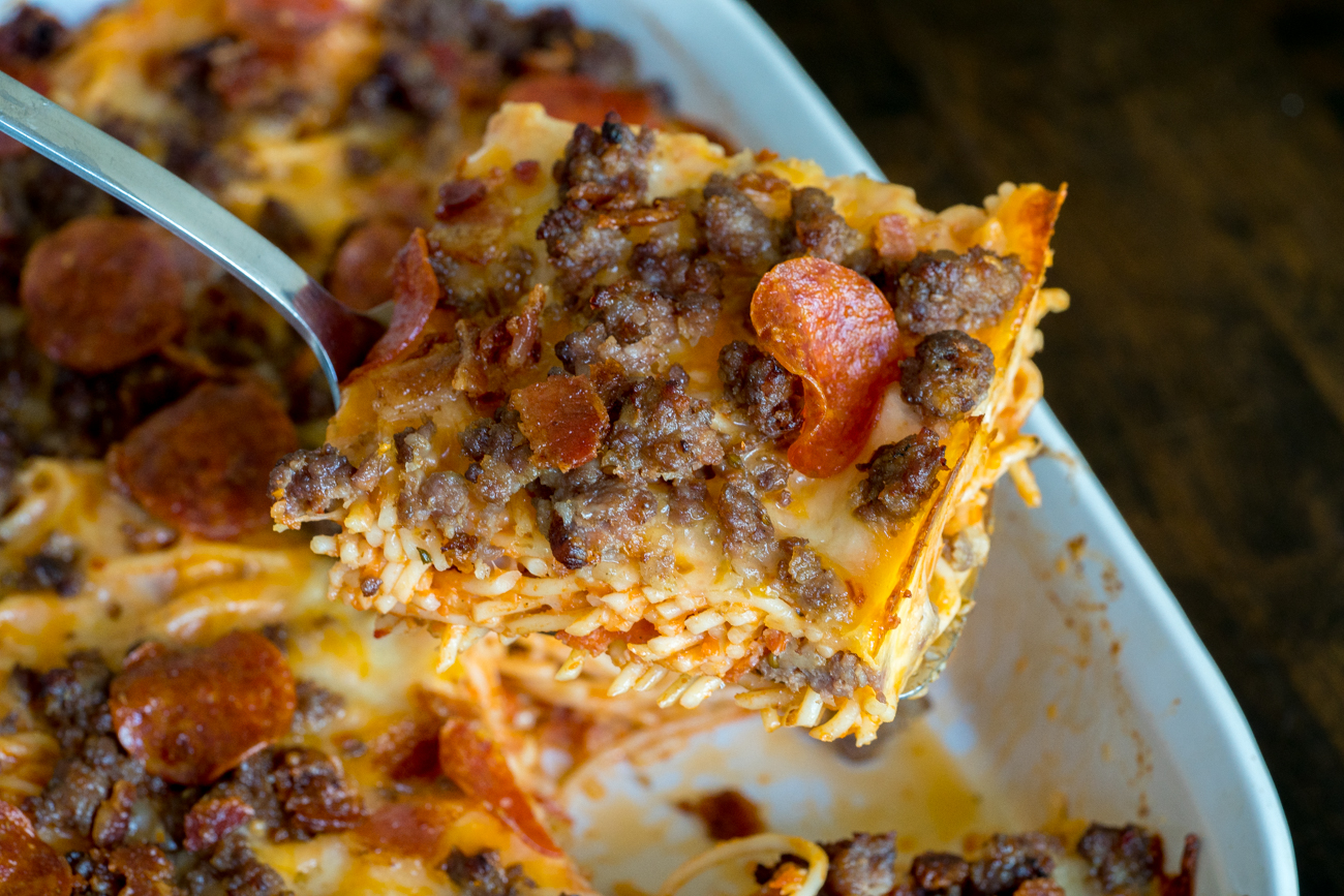 Meat Lover's Pizza Spaghetti Bake 7