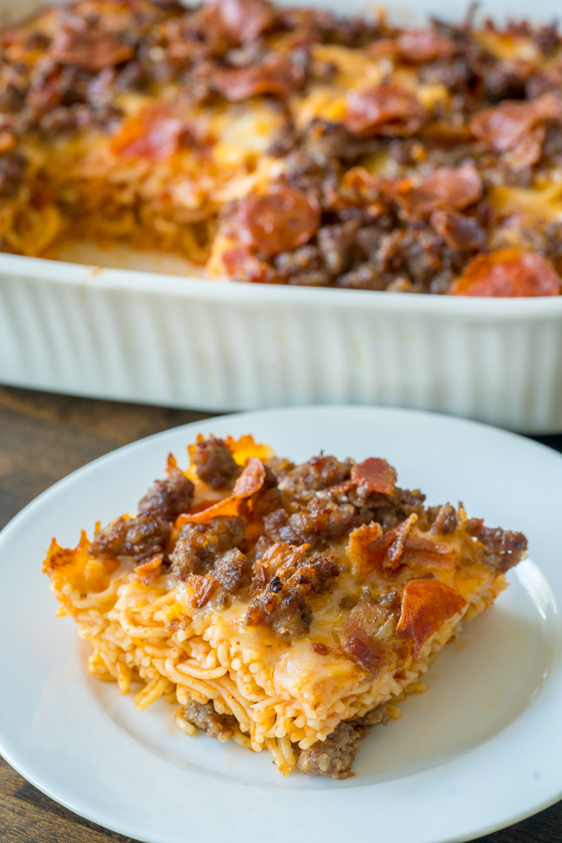 Meat Lover's Pizza Spaghetti Bake 8