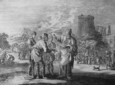 Phillip Medhurst woodcut depicts the landowner sending workers to the vineyard