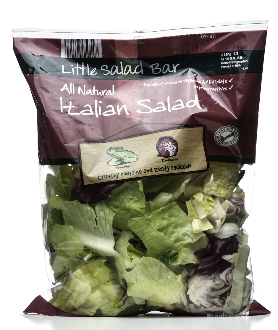 Miami, USA - June 04, 2013: Little Salad Bar Italian crunchy romaine and zesty radicchio bag. Little Salad Bar brand is owned by Aldi, Inc.