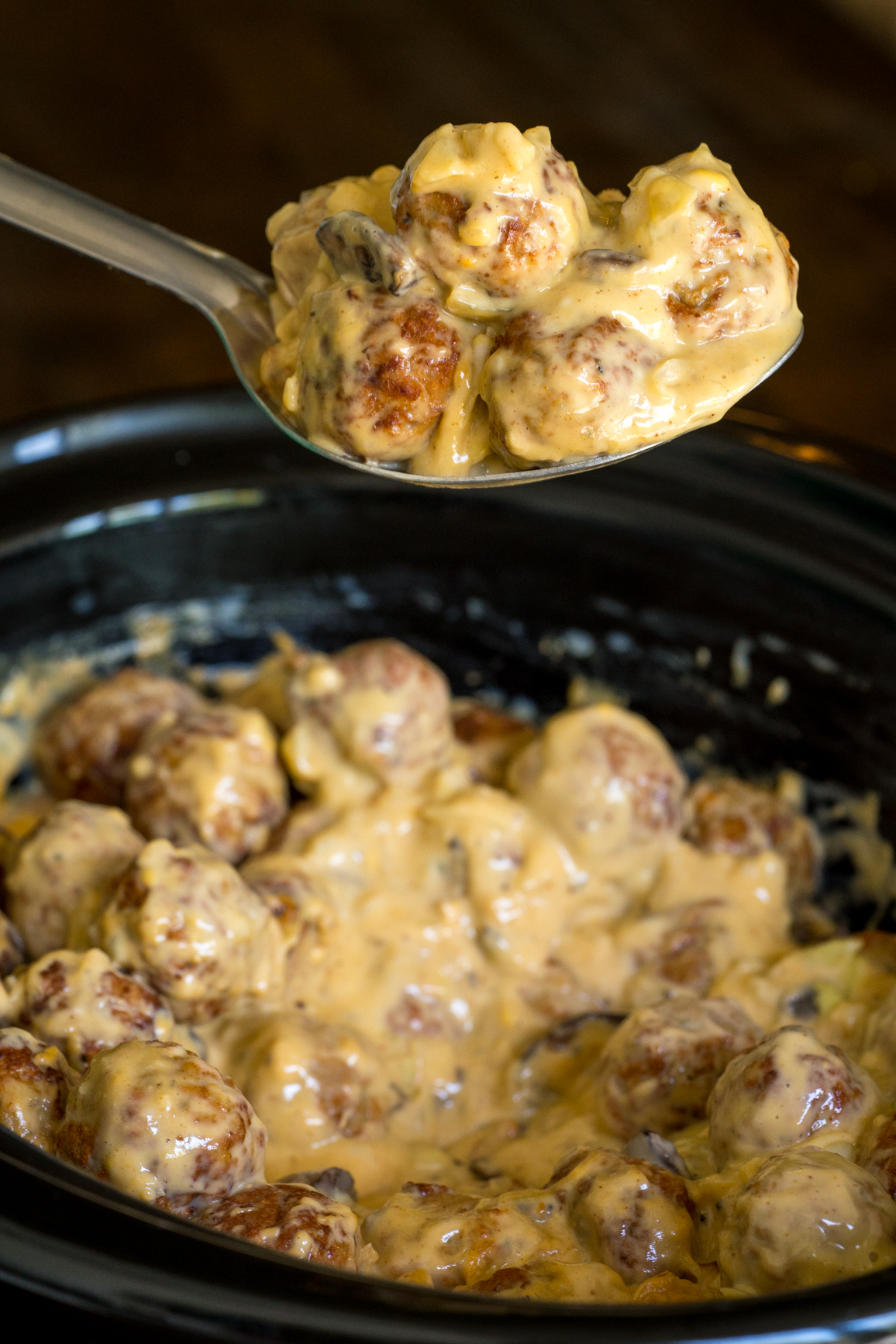 Slow Cooker Cheesy Mushroom Meatballs 6