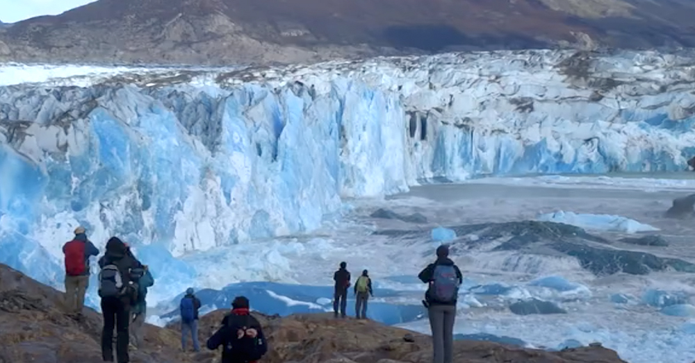 Source: Rumble/ViralHog Glaciers break off into the lakes of Patagonia every 5 years or so.