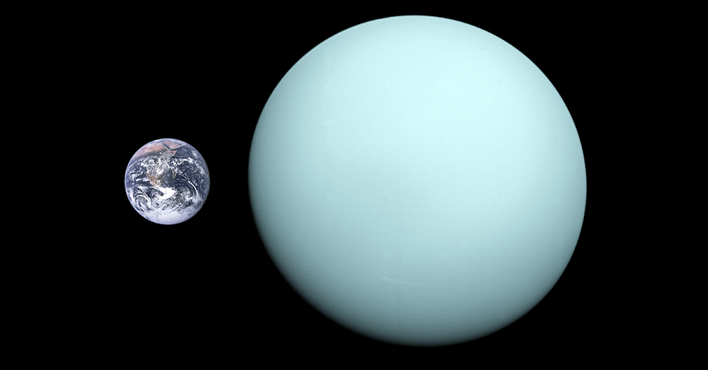 Source: Wikimedia Commons A size comparison between Earth and Uranus. Smell not pictured.