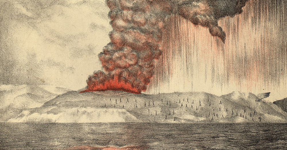 Source: Wikimedia Commons An 1888 lithograph of the 1883 eruption of Krakatoa.
