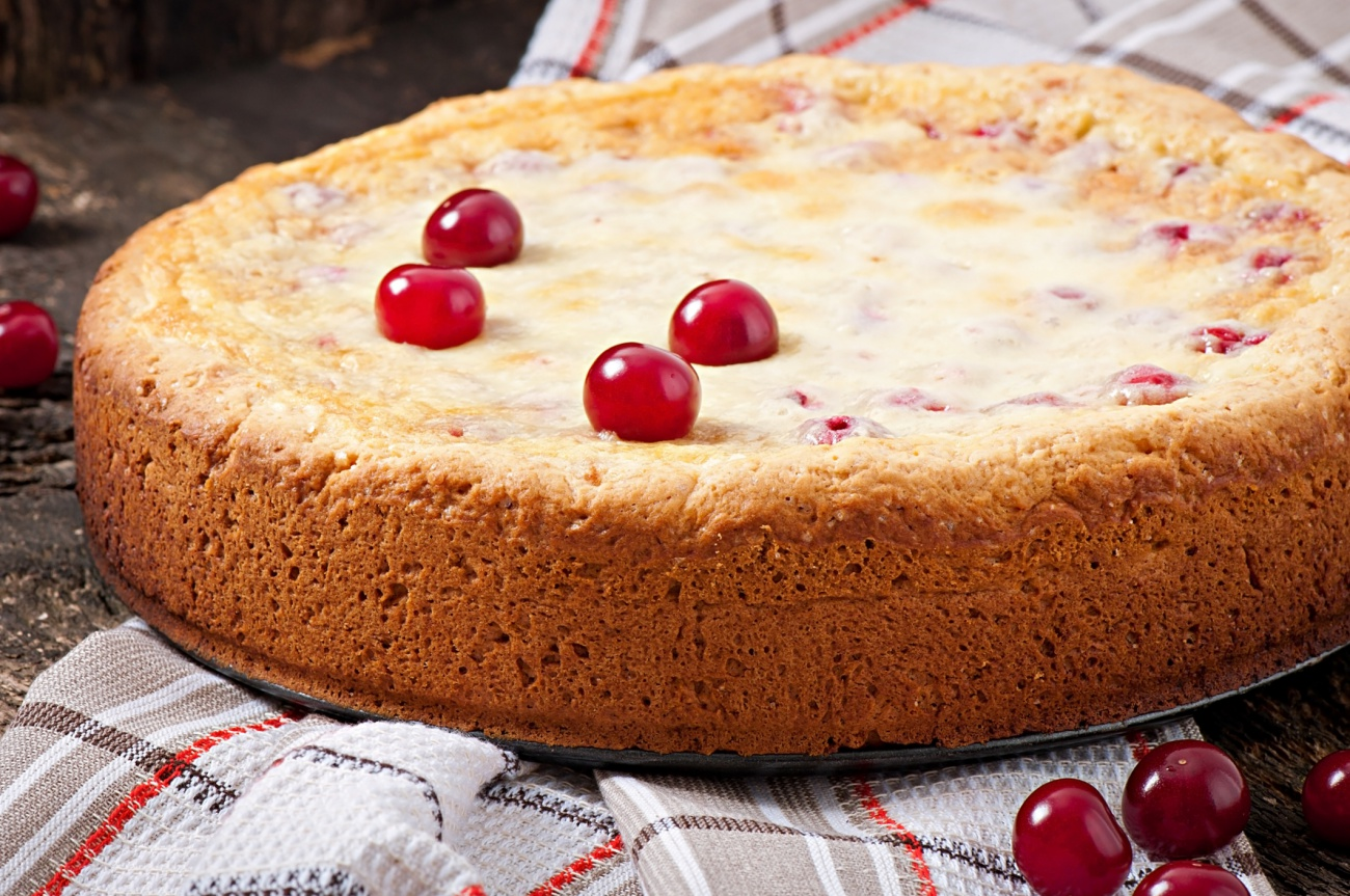Homemade Pie with cherries and cream