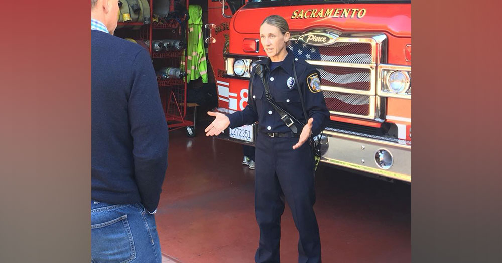 Source: Facebook/Sacramento Fire Department Flash the fire accelerant detection dog. Flash's handler, Sharon McIntyre.