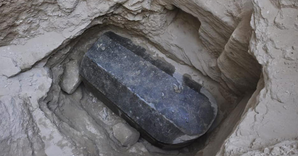 Source: Facebook/Egyptian Museum of Antiquities The mysterious black sarcophagus was unearthed on July 19.