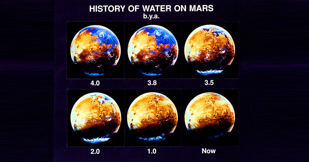 Source: Wikimedia Commons A history of water on Mars.