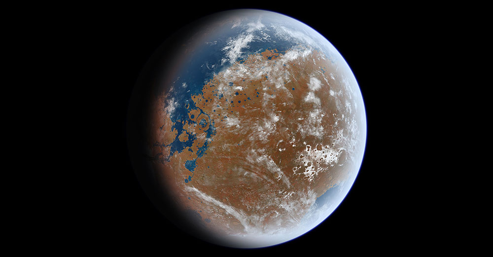 Source: Wikimedia Commons A rendering of ancient Mars.