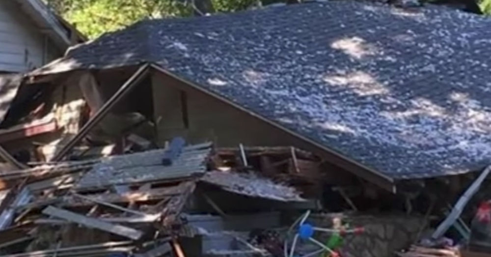 Source: YouTube/Inside Edition Ashley Nadeau's house was destroyed in an explosion.