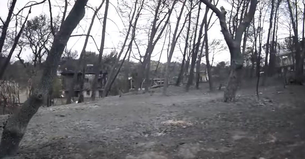Source: YouTube/Zoosos.gr Wildfires in Greece have destroyed the village of Mati.