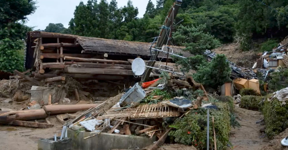 Source: YouTube/Cities of the World A destroyed home in the Uwajima, Ehime Prefecture, in southern Japan.