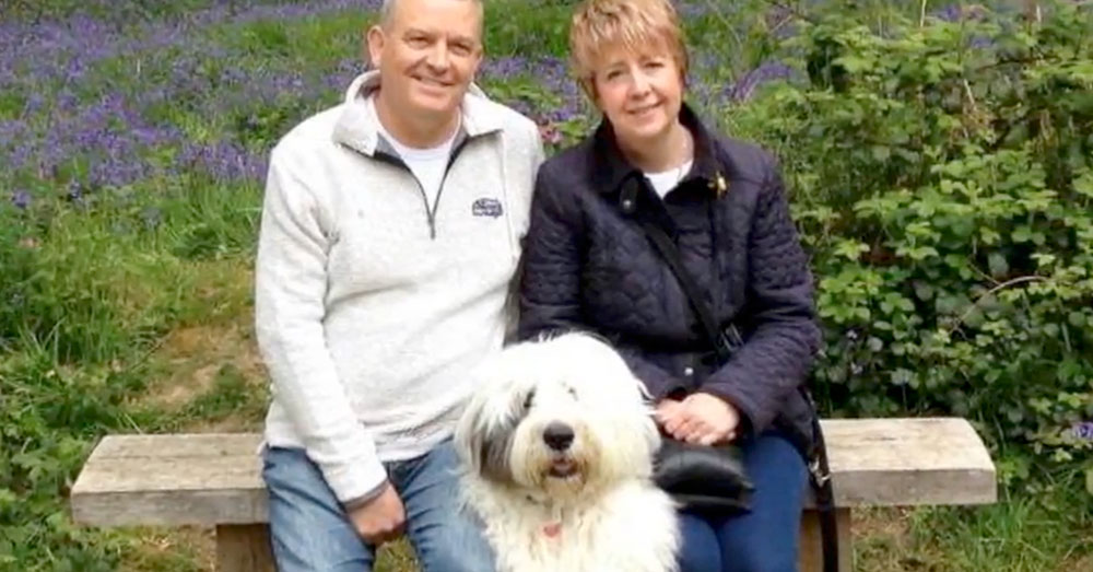 Source: YouTube/NEWS UPDATE Tony and Karen Stevens and their Old English Sheepdog, Poppy.