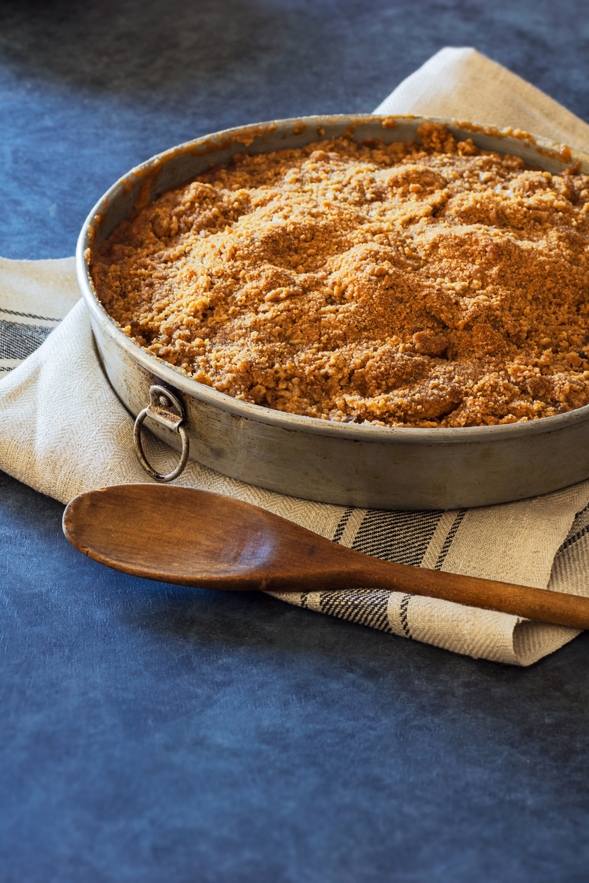 Apple Crumble or Apple Crisp Baked Fruit Dessert in Metal Pan