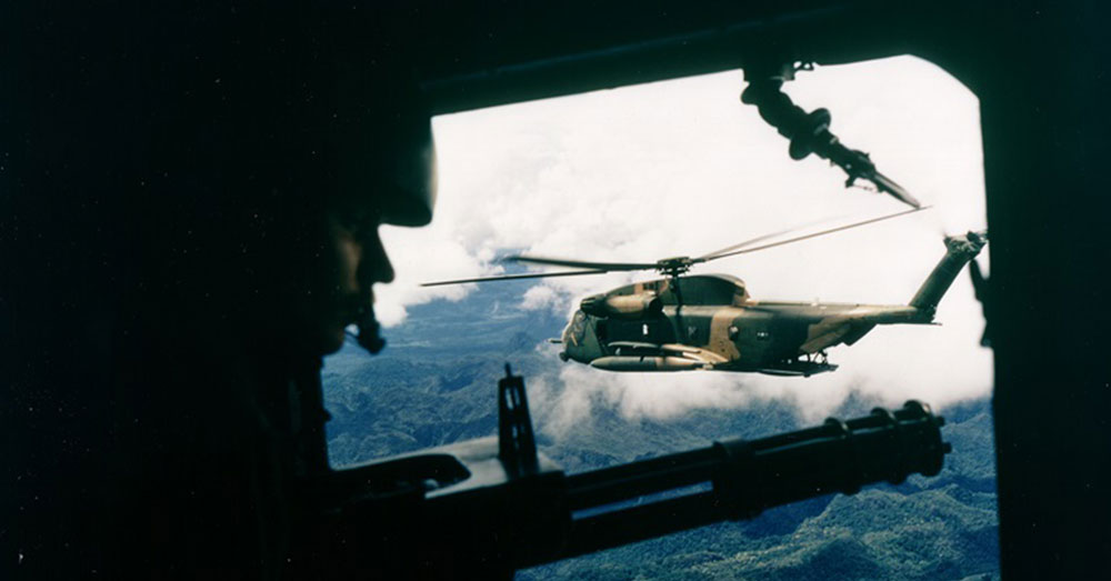 Source: U.S. Air Force An HH-53 Huskie, a specialized helicopter designed for search and rescue, of the 40th Aerospace Rescue and Recovery Squadron as seen from the gunner's position, in Vietnam.
