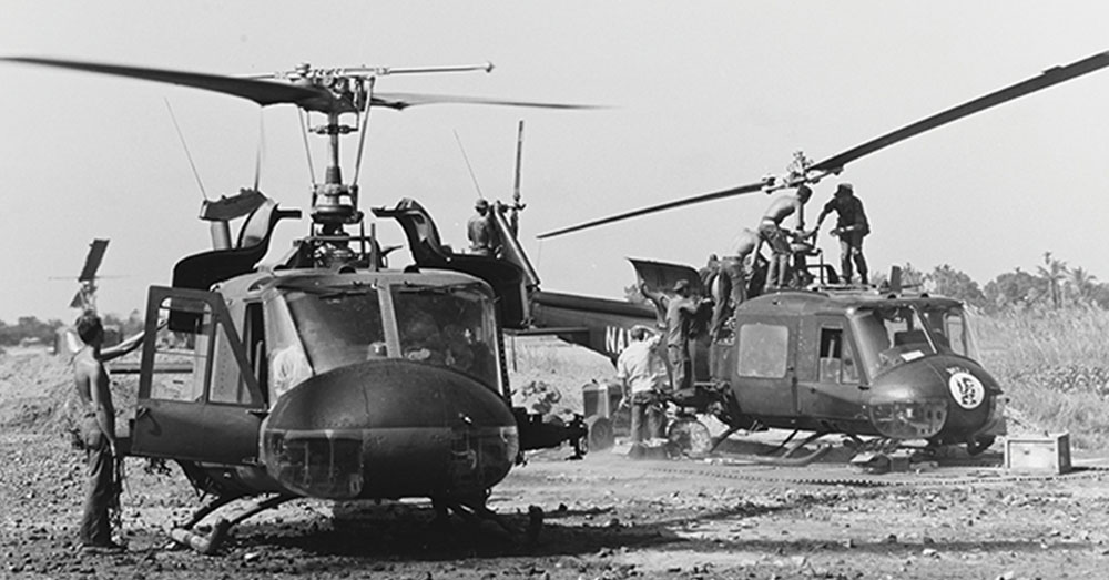 Source: U.S. Navy Maintenance division personnel service two HAL-3 choppers.