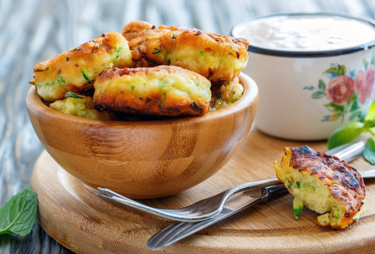 Bowl of zucchini fritters for breakfast.