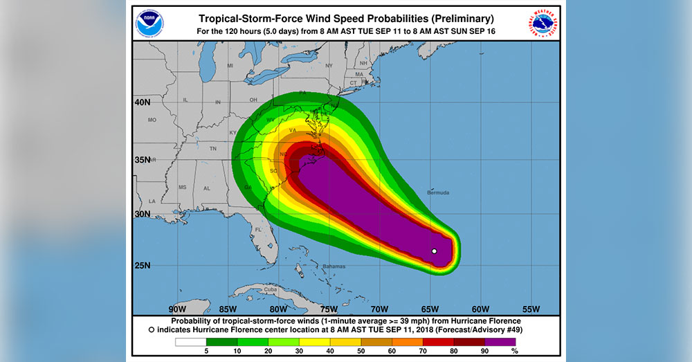 Source: Joint Base Andrews Hurricane Florence will hit the East Coast on Thursday, Sept. 13.