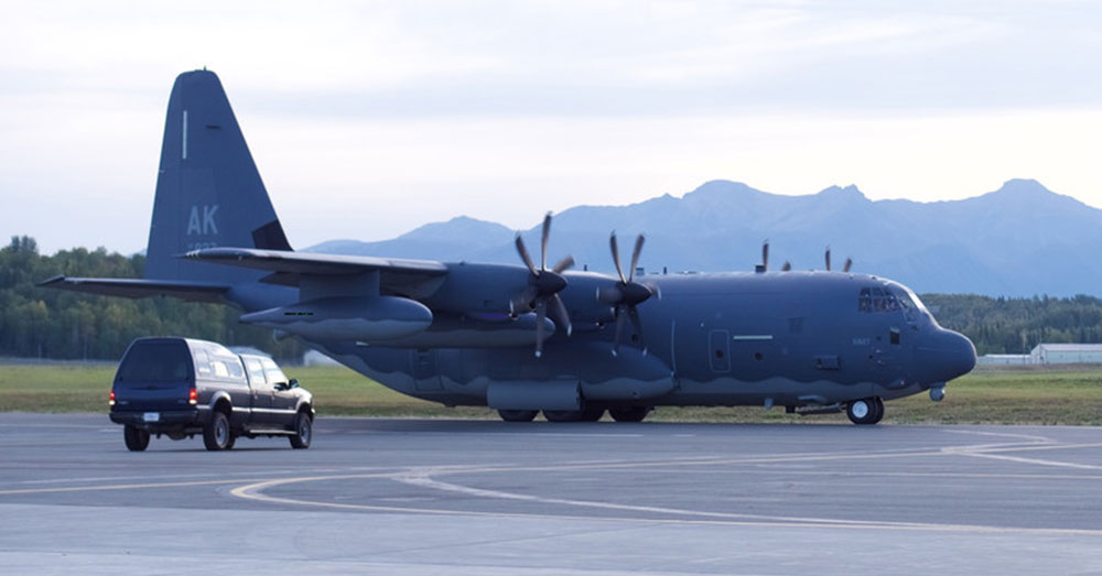 Source: 176th Wing A 211th Rescue Squadron HC-130J Combat King II taxis Sept. 12, 2018 at Joint Base Elmendorf-Richardson, Alaska, before heading toward Hurricane Florence.