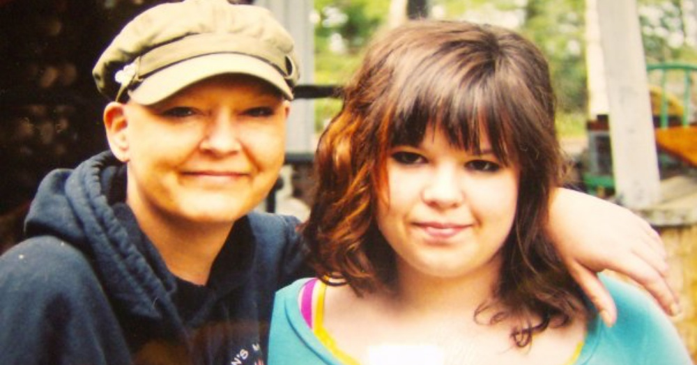 Our daughter Samantha and me, right after I finished chemo, 2009.