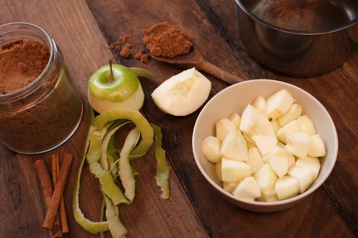 Peeled and diced fresh apple with cinnamon