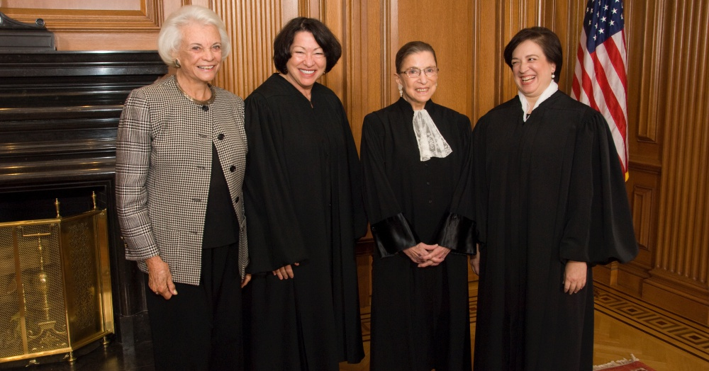 Photo: Wikimedia Commons/Steve Petteway From left to right:  Justice Sandra Day O'Connor, (Ret.), Justice Sonia Sotomayor, Justice Ruth Bader Ginsburg & Justice Elena Kagan in the Justices' Conference Room prior to Justice Kagan's Investiture.