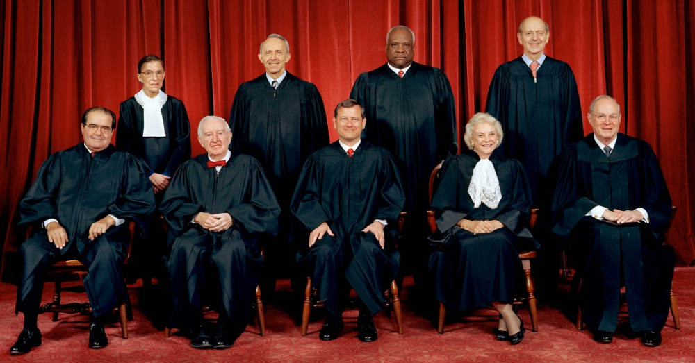 Photo: Wikimedia Commons/Steve Petteway The Supreme Court of the United States as of January 2006, before the retirement of Sandra Day O'Connor. Top row (left to right): Ruth Bader Ginsburg, David Souter, Clarence Thomas, and Stephen Breyer. Bottom row (left to right): Antonin Scalia, John Paul Stevens, John Roberts, Sandra Day O'Connor, and Anthony Kennedy.