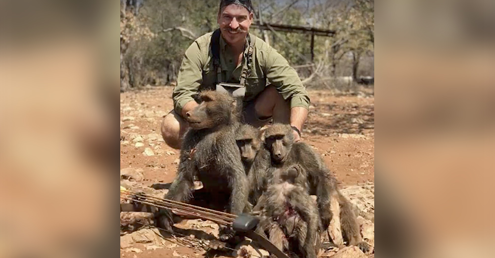 Source: Facebook/Idaho Statesman Idaho Fish and Game Commission member Blake Fischer poses with the baboons he killed in Namibia.