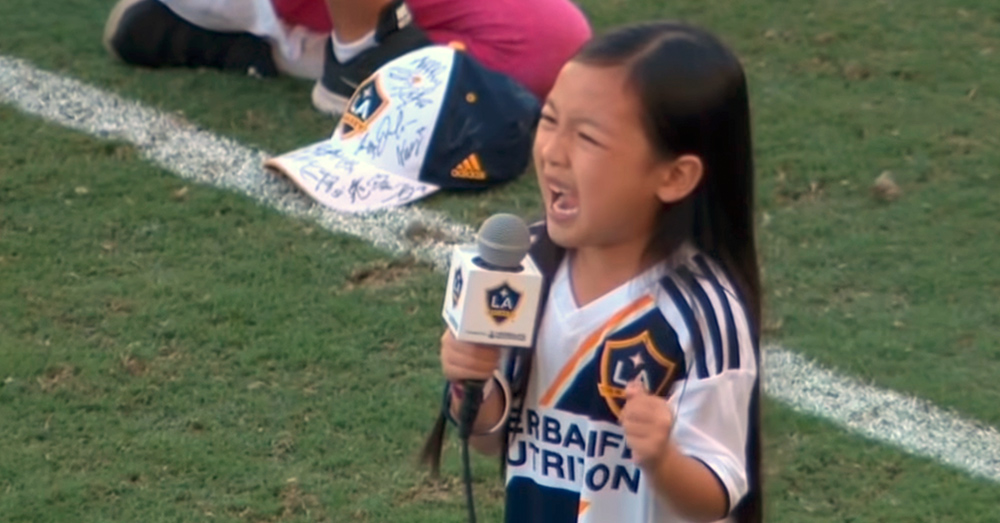 Source: YouTube/Major League Soccer 7-year-old Malea Emma sang before the Seattle Sounders played against the LA Galaxy.