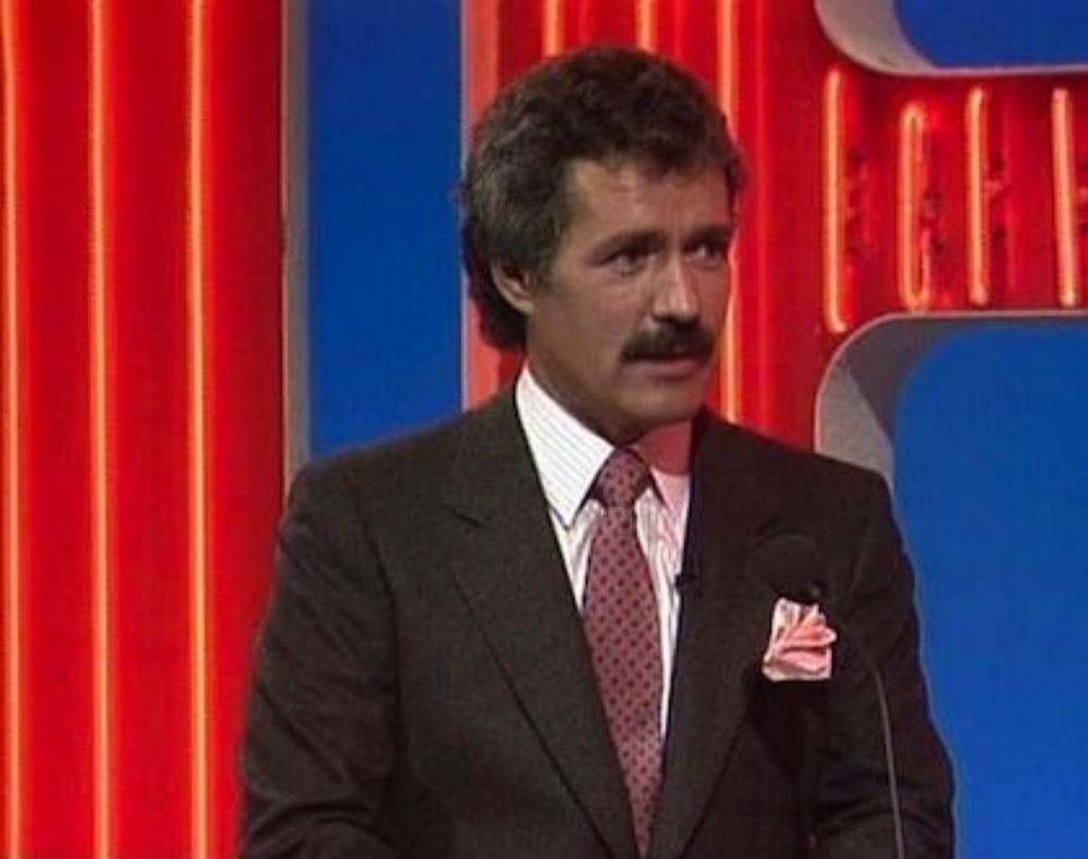 Young Alex Trebek on the set of Jeopardy
