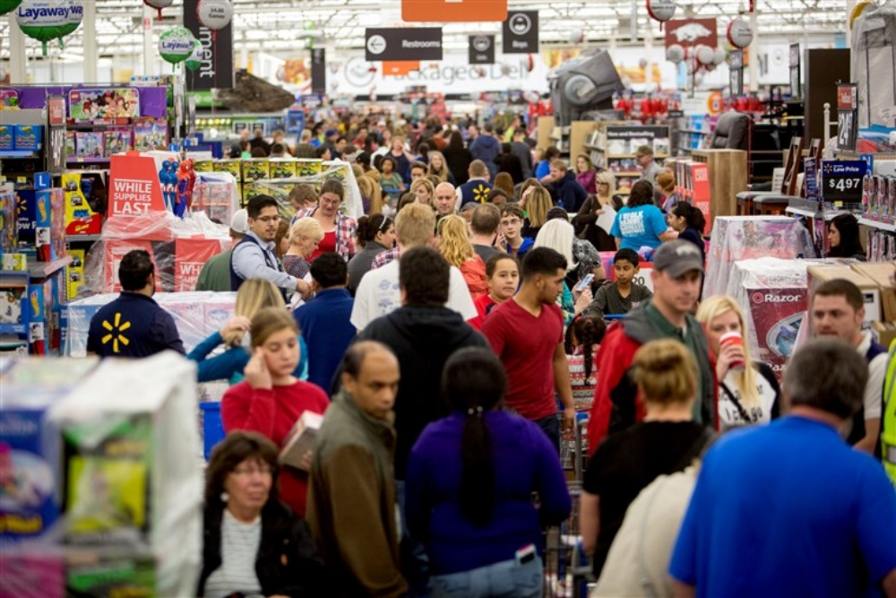 crowded Wal-Mart store