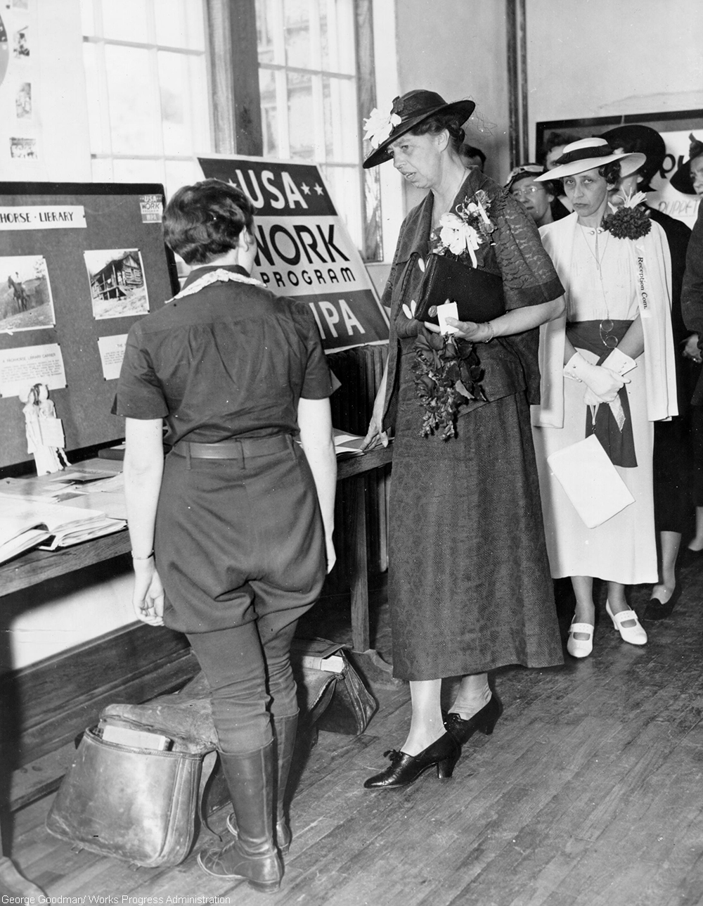 Eleanor Roosevelt visiting the Packhorse Library in West Liberty, KY, May 24, 1937. Mrs. Roosevelt chats with a Pack Horse Librarian of the Kentucky Mountains at the dedication exercises of the West Liberty High School