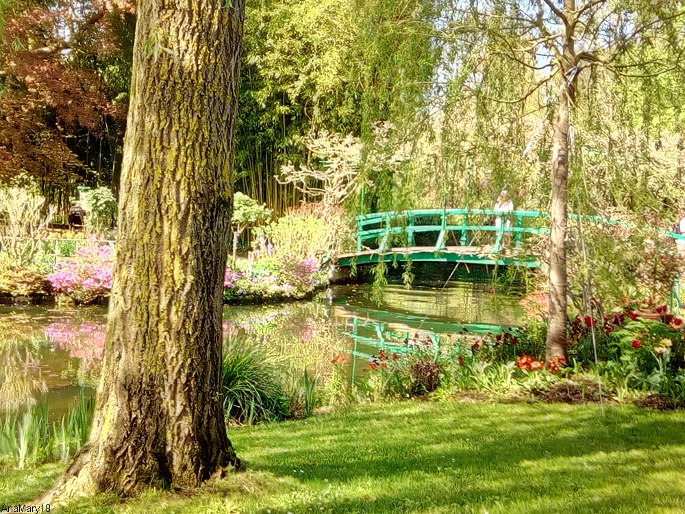 garden stream and foot bridge at the house of Claude Monet