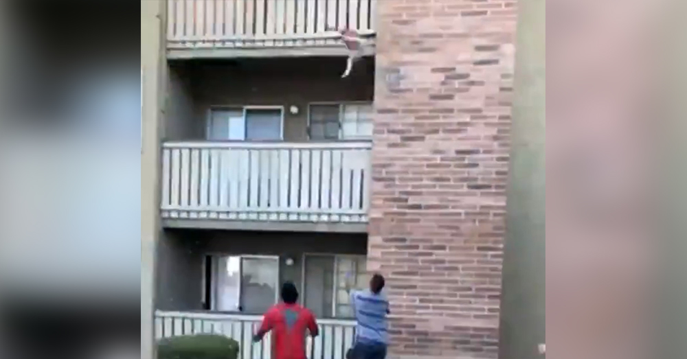 The baby is tossed from the third story balcony.