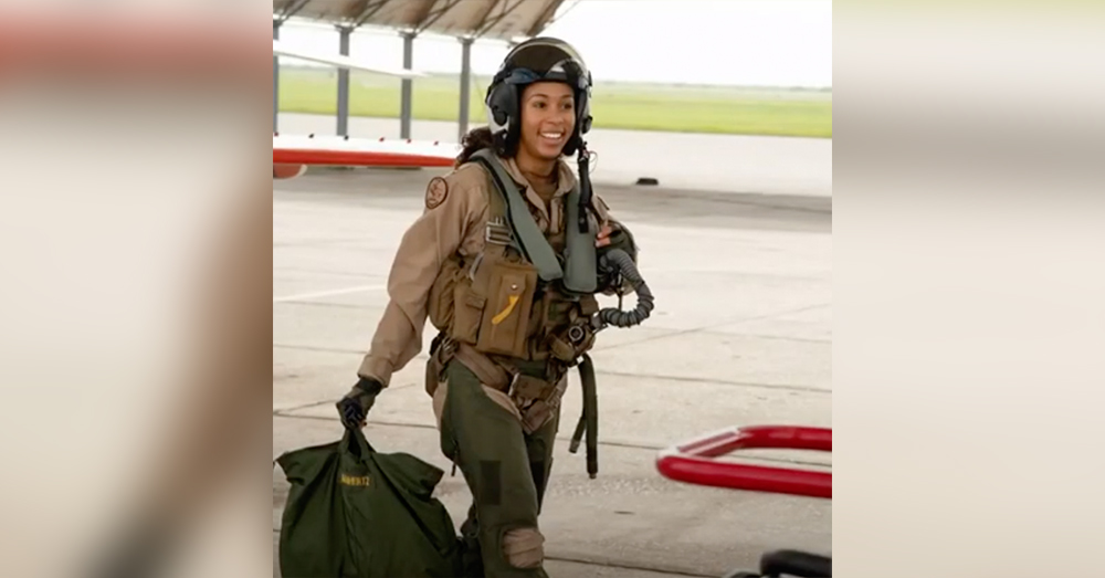 LTJG Madeline Swegel is the US Navy's first black woman tactical fighter pilot.