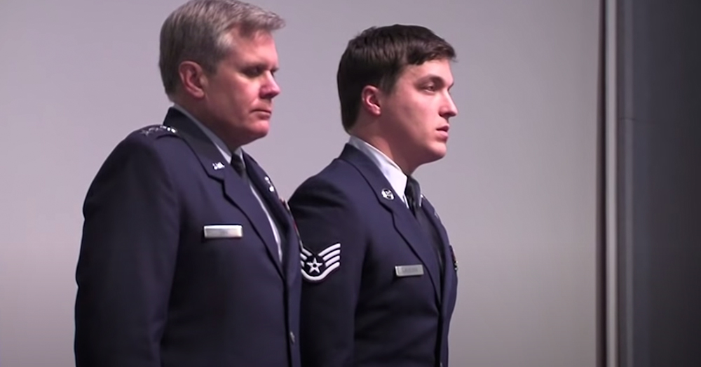 Staff Sgt. Adam Krueger, right, prepares to receive the Silver Star.