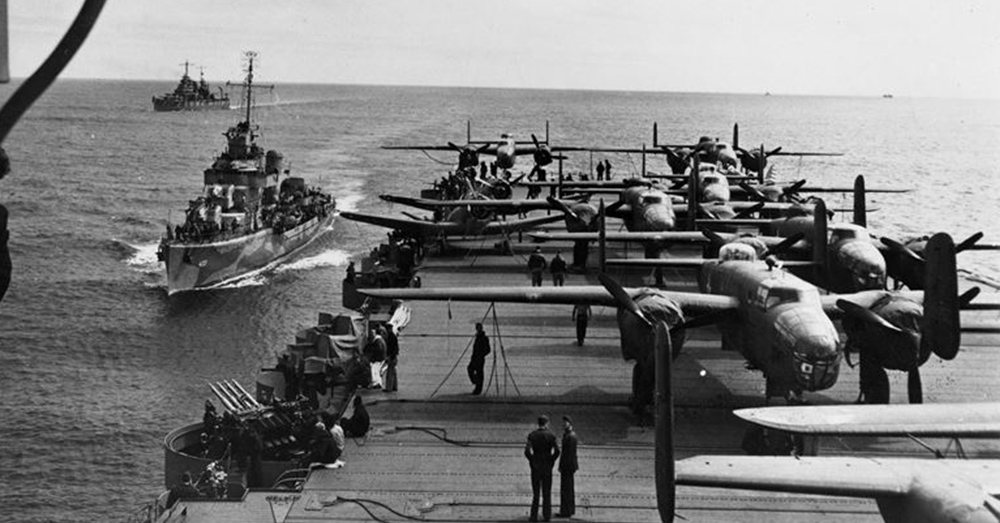 Aft flight deck of USS Hornet.