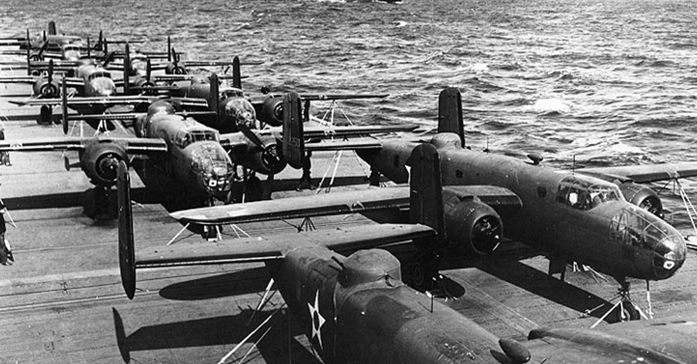 B-25Bs on USS Hornet en route to Japan.