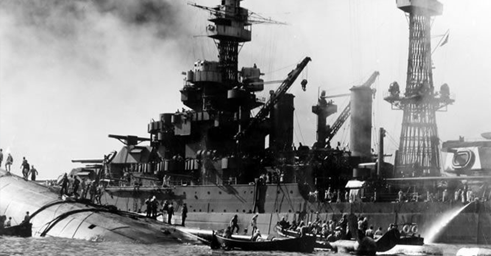 Survivors from the USS Oklahoma were pulled up and out of the water and onto the deck of the USS Maryland.