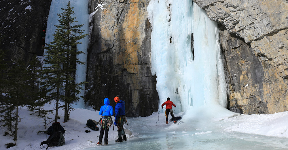 A frozen waterfall at Grotto Canyon.
