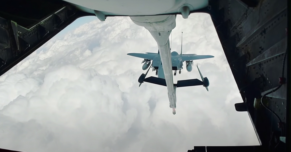 The jet approaches the refueling boom.
