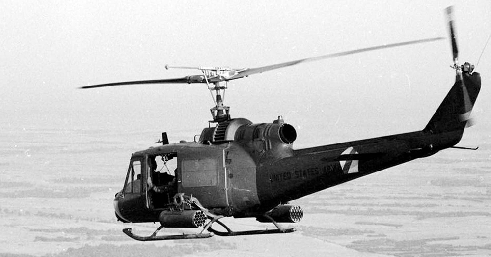 UH-1C Huey Gunship during an operation in Vietnam